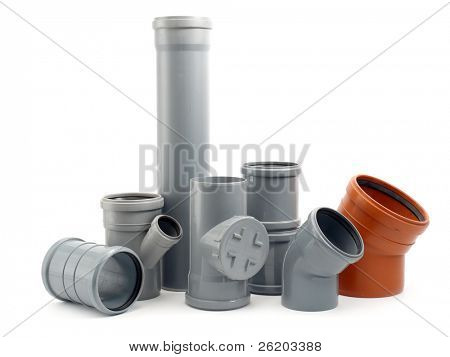 Assorted PCV sewage parts shot over white background