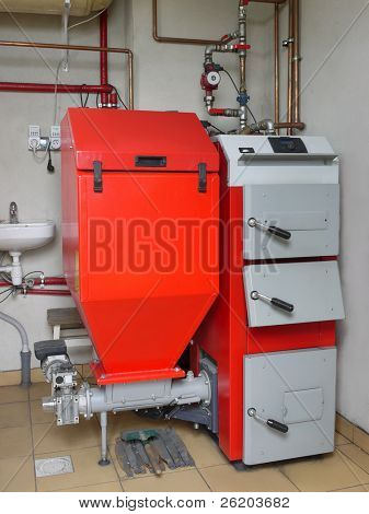 House boiler room with coal-fired central heating furnace system