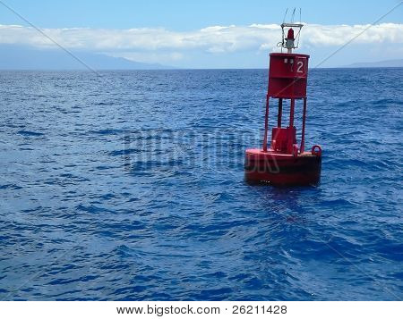 Red Buoy on Blue Ocean