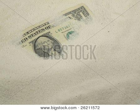 Dollar buried in Sand (left third)