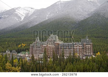 Towering Rocky Mountains covered in winter snow in Alberta, Canada while on a vacation travel holiday