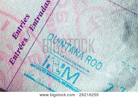 Passport page with entry stamp for Mexico