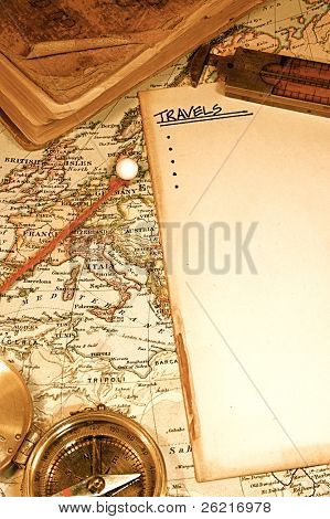 Vintage (1907 copyright EXPIRED) map of a world traveler