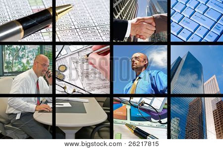 A collage of business people and business objects