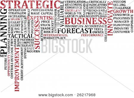 A scramble of business buzz words for background