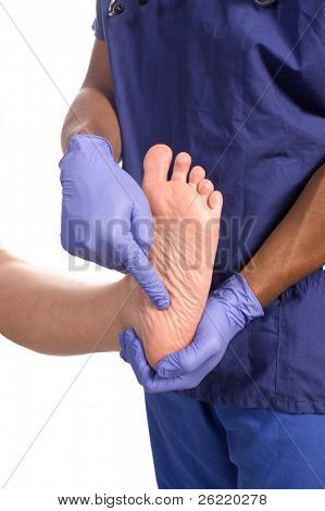 Doctor podiatrist checking patient's foot