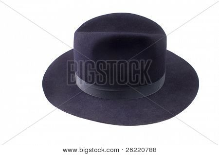 Blue felt fedora or sheriff's style hat with hatband isolated on a white background
