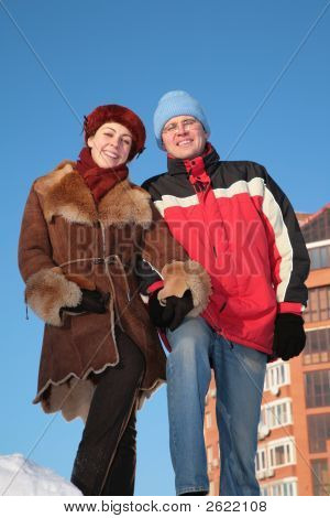 Couple Outdoor In Winter