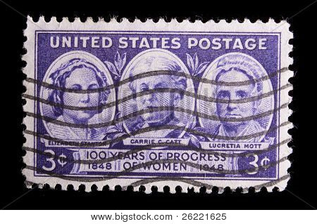 "UNITED STATES - CIRCA 1948: Depicting insets of 3 women, in-scripted ""Lucretia Mott, Elizabeth Stanton, Carrie Catt"" ""100 years of progress of Women 1848-1948"", value 3 cents, purple, circa 1948"