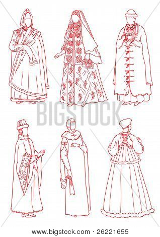 Women In The Ancient Russian Suits