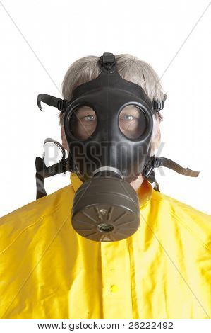 Man in a rubber hazmat suit wearing a gas mask