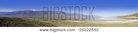 seasonal lake that forms during the winter rains in Death Valley National Park which is surrounded by mountains