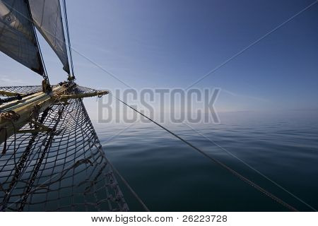 huge sailing boat at sea
