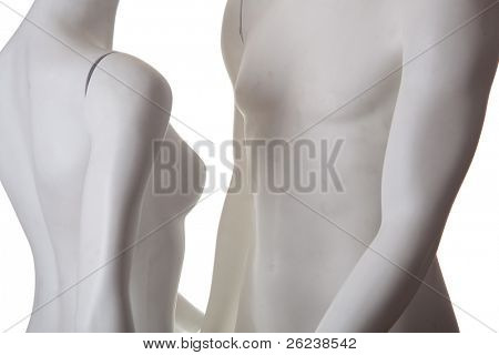 Male and female couple, manequins in love