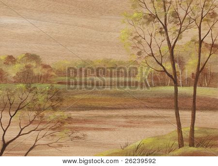 Landscape on wood veneer