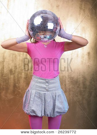 Disco Girls with Glitter Ball On Head In Night Club