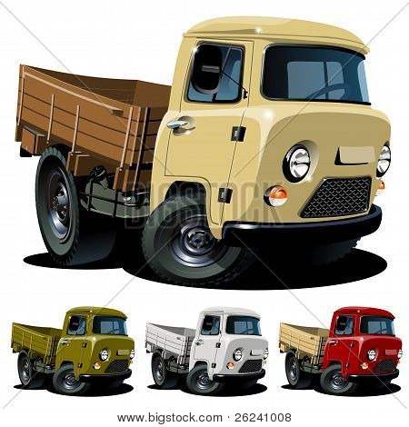 Vector cartoon 4x4 pickup one-click repaint