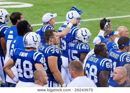 INDIANAPOLIS, IN - SEPT 2: Peyton Manning and his teammates watch the game between Indianapolis Colts and Cincinnati Bengals on September 2, 2010 in Indianapolis, IN