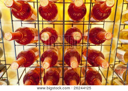 Display of wine bottles on a rack