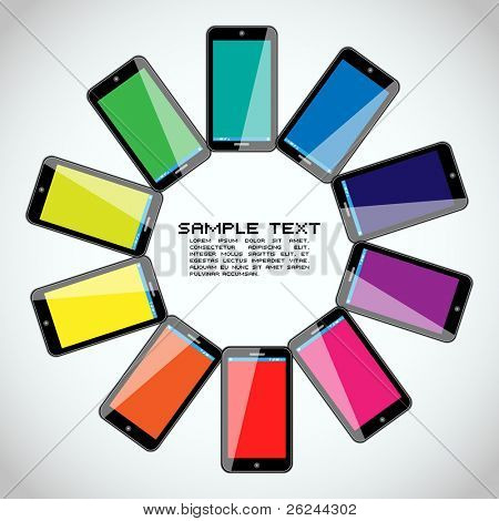 Mobile Phones - Colorful Vector Design