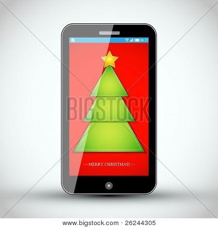 Mobile Phone - Christmas Vector Design