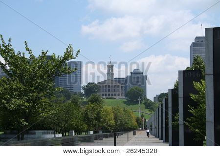 Nashville, Tennessee...view from the World War II Memorial up to the statehouse