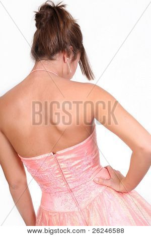 girl in prom dress from behind