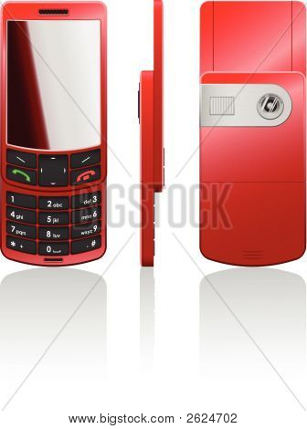Vector Photorealistic Red Cellphone