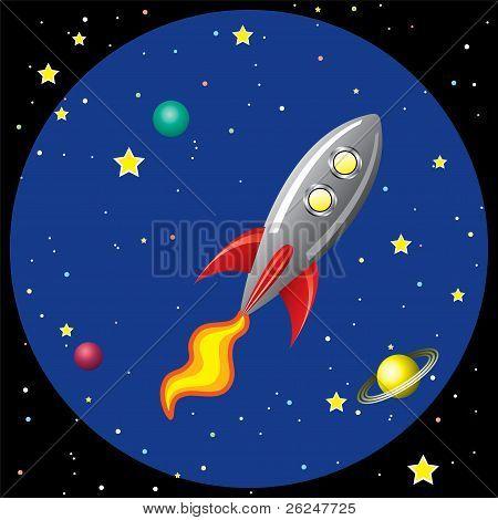 vector Rocket Ship In Space