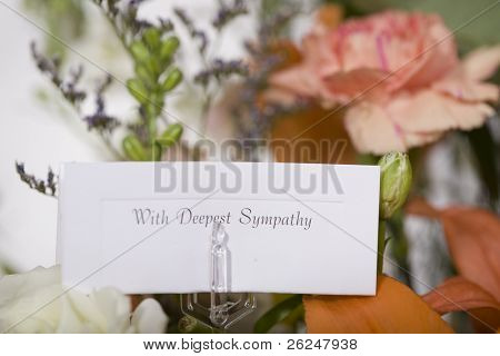 Flowers sent with a note of sympathy