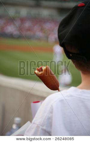 corndog at the baseball game