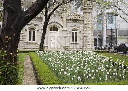 Chicago's historic Water Tower building in the spring
