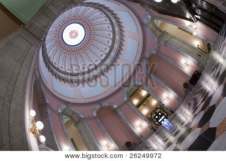 Ornate rotunda in the Ohio Statehouse in Columbus, Ohio