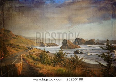 Famous view of highway 101 along the Oregon coast in the evening. This is by Gold Beach.