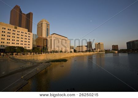 Columbus, Ohio showing the new Riverwalk, shot from the Broad Street Bridge