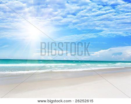 Sandy tropical beach in summer sunny day