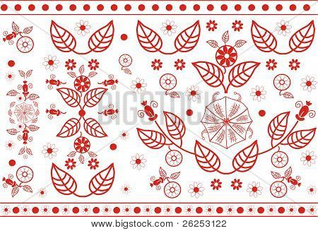 Vector red floral pattern.