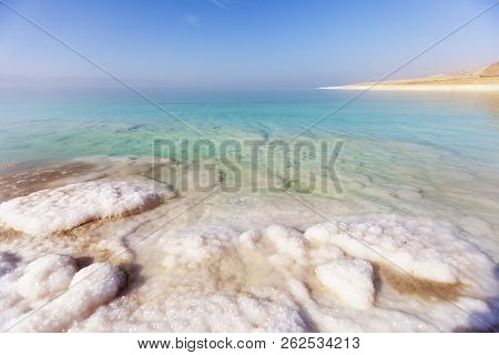 Dead Sea Salty Shore Landscape