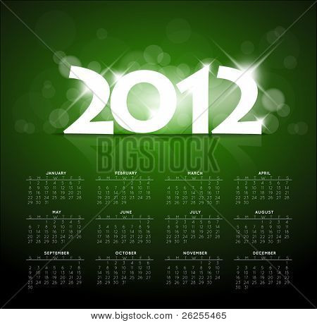 Blue calendar for the new year 2012 with back light and place for your text