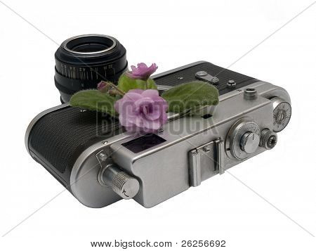 beauty of old things - violet, rangefinder camera and lens