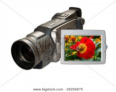 digital camcorder with floral picture on the screen