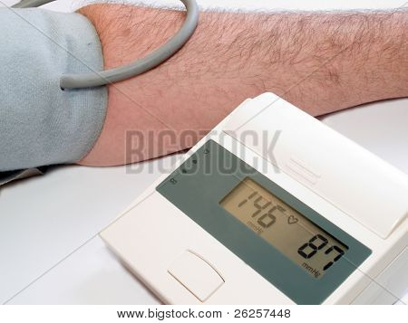 high blood pressure measuring with automatic tonometr