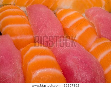 macro of japanese traditional foods rolls and sushi