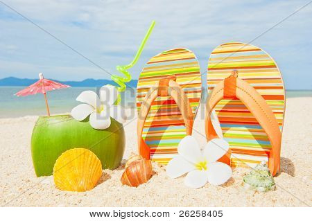 Ocean Beach With Palm And And Coctail