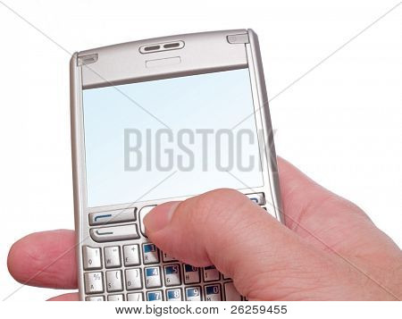 typing on personal digital assistant smartphone isolated on white