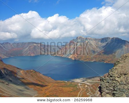 vulcanic lake on the top of famous North Korea Paktusan mountain