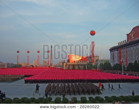 PYONGYANG - SEPTEMBER 5: military parade in the Pyongyang capital of North Korea, September 5, 2008, North Korea