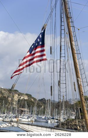 American Flag On Passing Ship In Dana Point