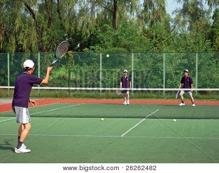 PYONGYANG - SEPTEMBER 5: knock-up of north korean International Tennis Invitation Tournament tennis championship on September 5, 2008 in Pyongyang, North Korea.
