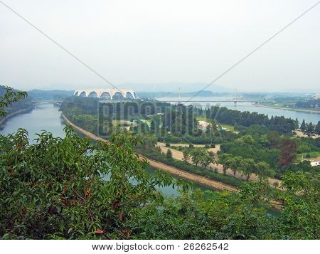 panorama of the Pyongyang capital of the North Korea